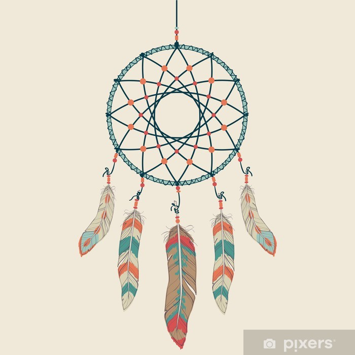 Vector colorful illustration of dream catcher Vinyl Wall Mural - Styles