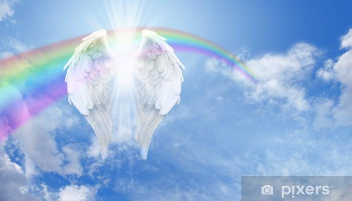 Vinyl Fotobehang Rainbow Angel Wings in de wolken Banner - Regenbogen