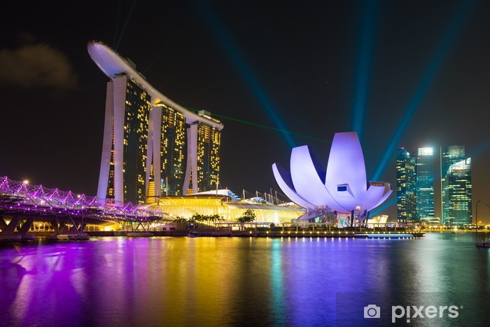 Fototapeta winylowa Marina Bay Sands Hotel z pokazu laserowego oświetlenia - Przemysł ciężki
