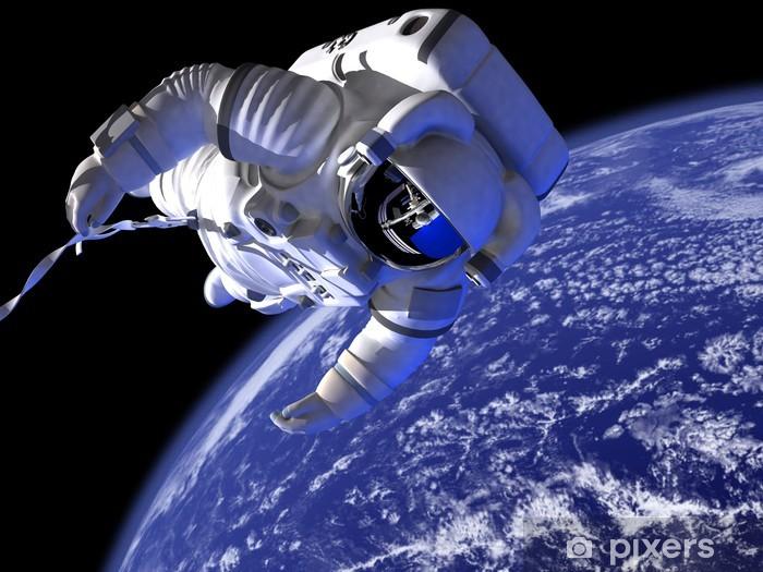 Afwasbaar Fotobehang De astronaut in de ruimte tegen de wereld - Thema's