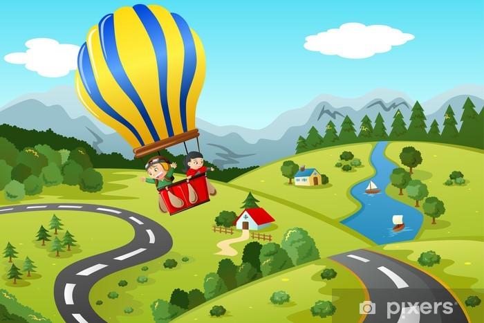 Fototapete Kinder reiten Heißluftballon