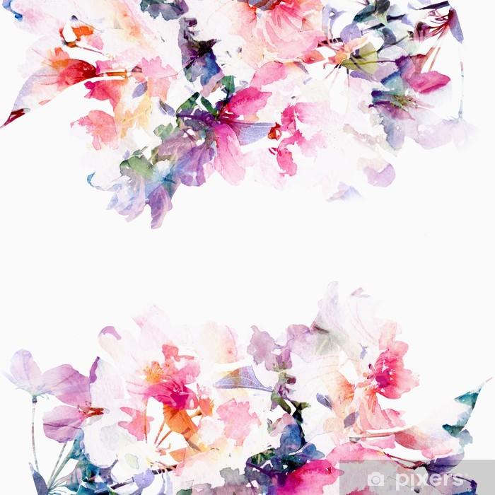 Fotomural Estándar Floral de fondo de acuarela. Rosas. - Estilos