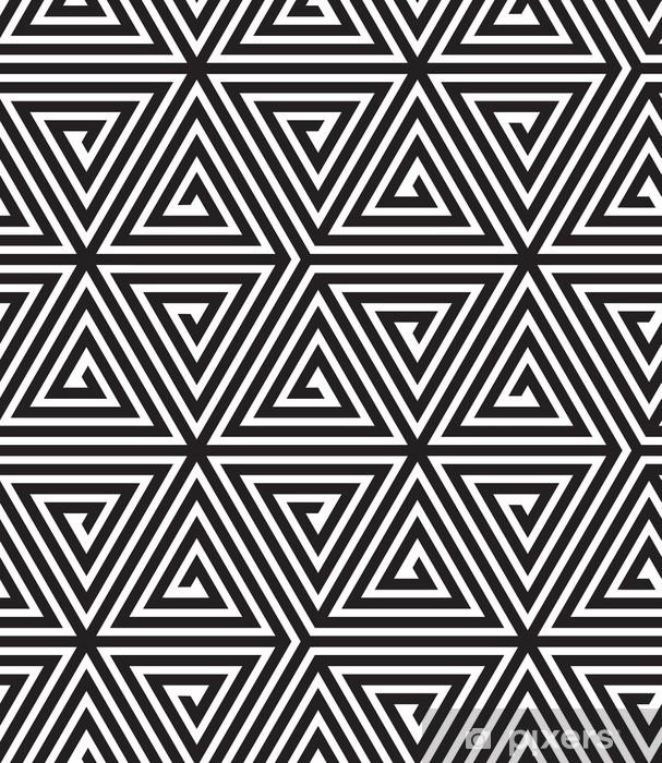 Naklejka Pixerstick Trójkąty, Czarno-biała abstrakcja Bezproblemowa geometryczny wzór - Tematy