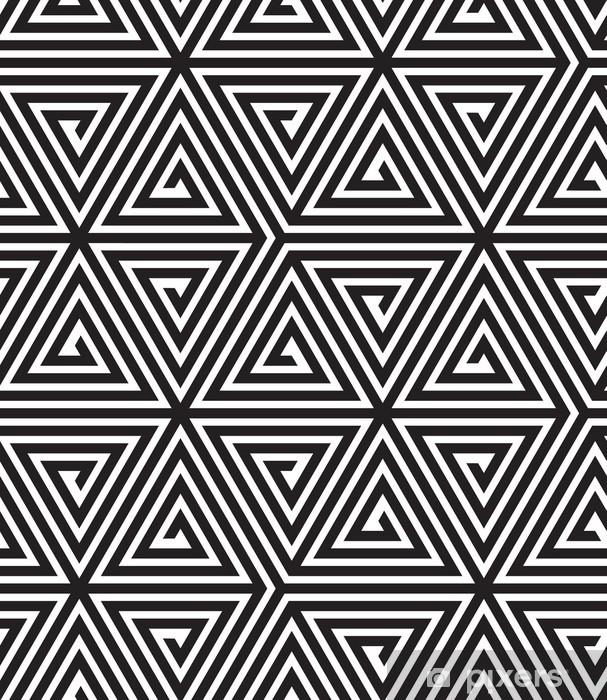 Triangles, Black and White Abstract Seamless Geometric Pattern, Vinyl Wall Mural - Themes