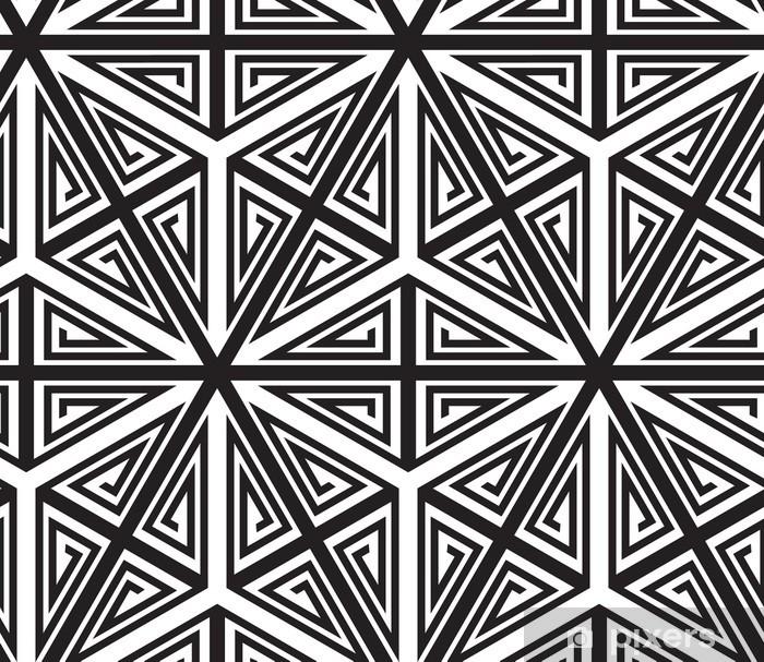 Papier Peint Triangles Noir Et Blanc Motif Abstrait Geometrique