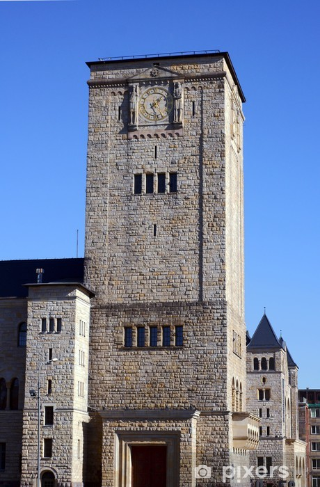 The clock on the tower of the castle of the Imperial in Poznan Vinyl Wall Mural - Holidays