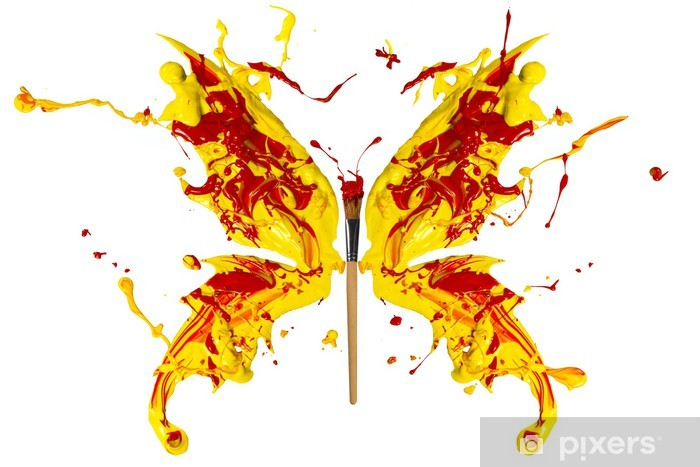 Vinylová fototapeta Žlutá a červená paind vyrobeny motýl - Vinylová fototapeta