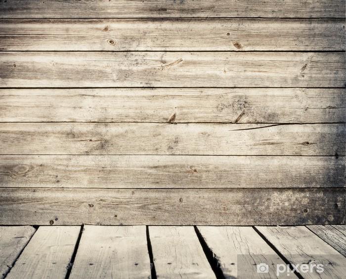 Houten Planken Aan De Muur.Fotobehang Vinyl Oude Verweerde Houten Planken Muur Met Vloer