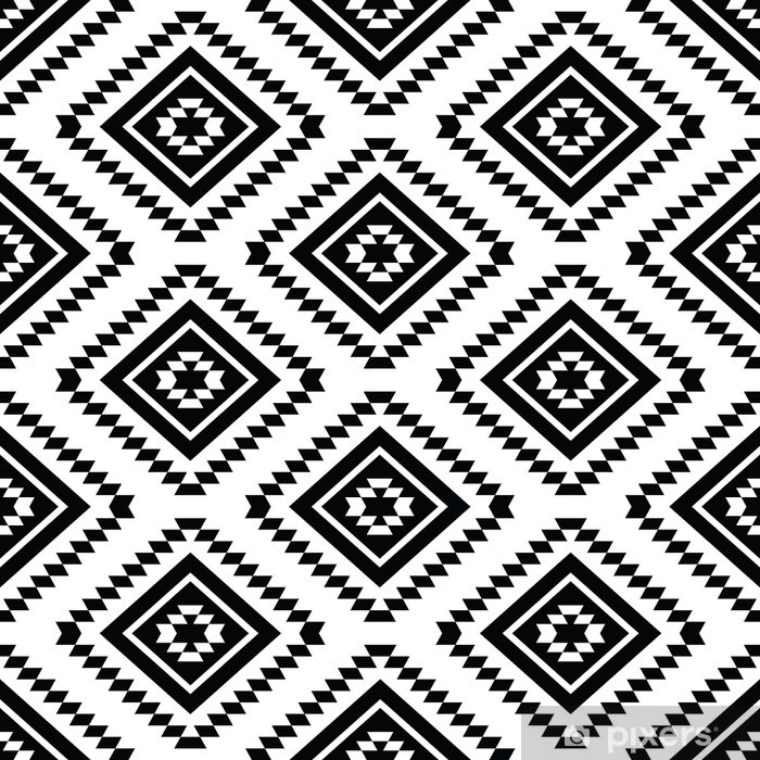 Tribal seamless pattern, aztec black and white background Framed Poster - Styles