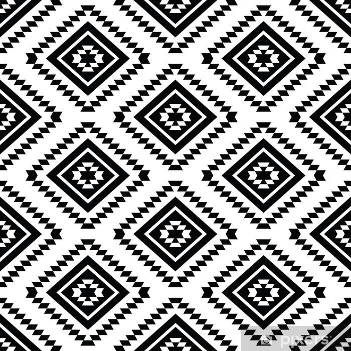Plakat Tribal szwu - aztec czarne i białe tło - Style