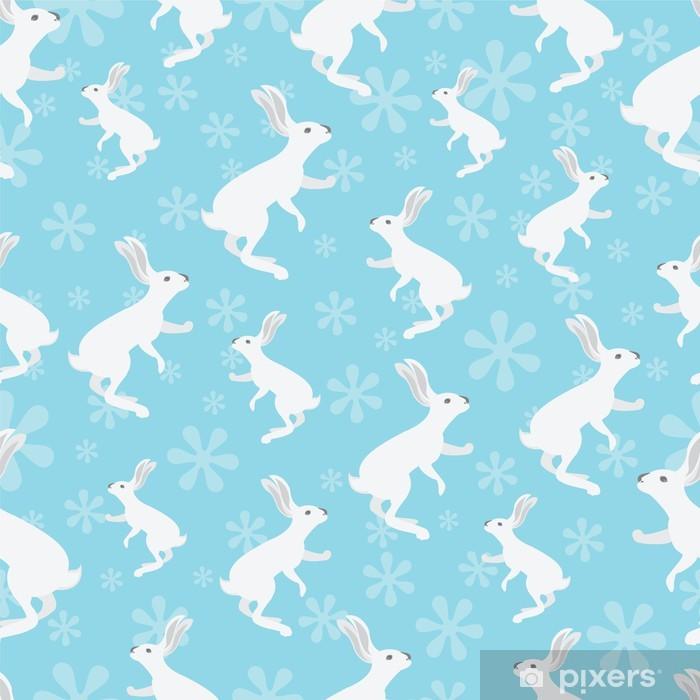 Papier peint vinyle Lapin pattern sur fond bleu. - Arrière plans