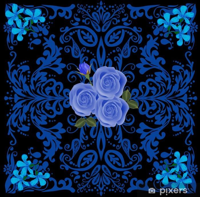 Fototapeta winylowa Niebieski kwadrat wzór z róż - Kwiaty