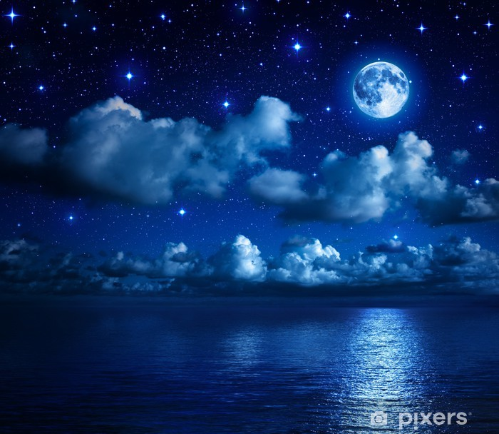 super moon in starry sky with clouds and sea Vinyl Wall Mural - Themes