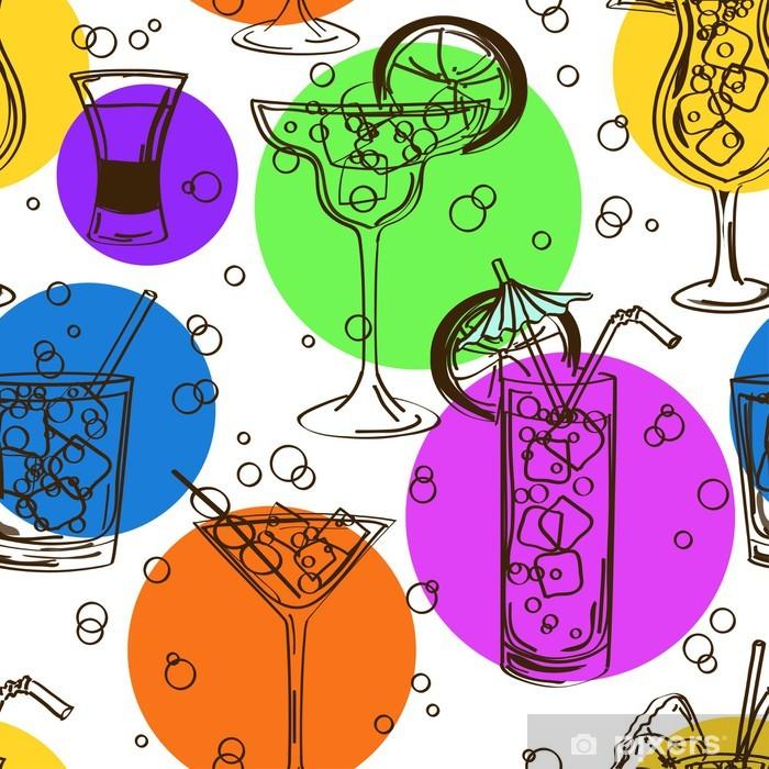 Plakát Barevné bezešvé vzor koktejlů - Alkohol