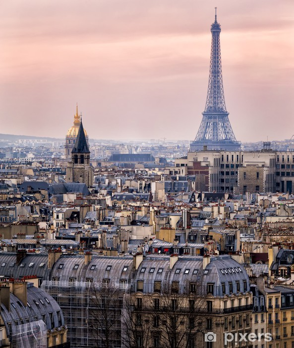 View of Paris and of the Eiffel Tower from Above Pixerstick Sticker - Themes