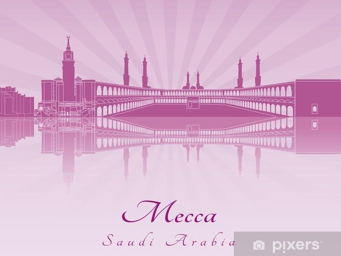 Pixerstick Sticker Mekka skyline in paars stralend orchidee - Midden Oosten