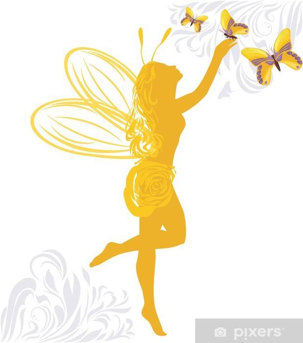Papier peint vinyle Fée et papillons - Sticker mural