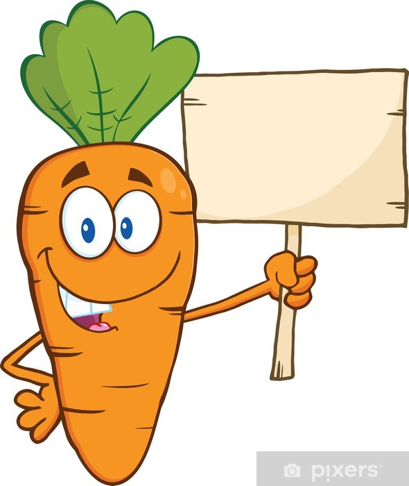 Funny Carrot Cartoon Character Holding A Wooden Board Wall Mural Pixers We Live To Change