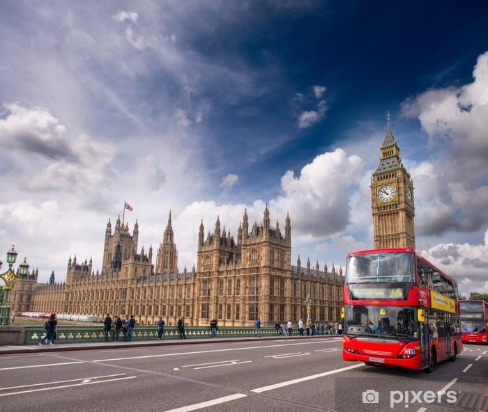 Fototapeta winylowa Londyn. Classic Red Double Decker Autobusy na Westminster Bridge - Transport drogowy