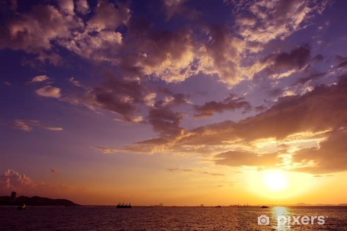 Papier peint vinyle Mer Coucher de soleil et nuage - Eau