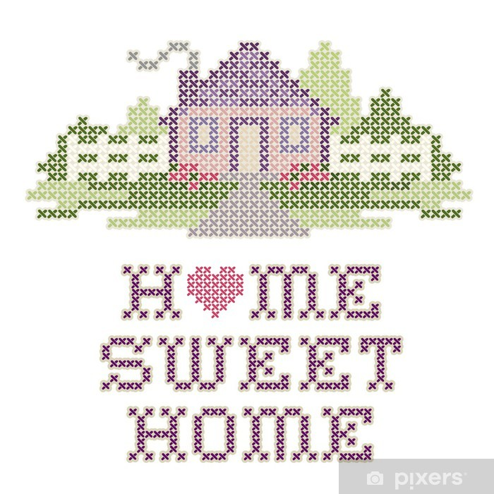 Home Sweet Home Cross Stitch Needlework Embroidery Pastel