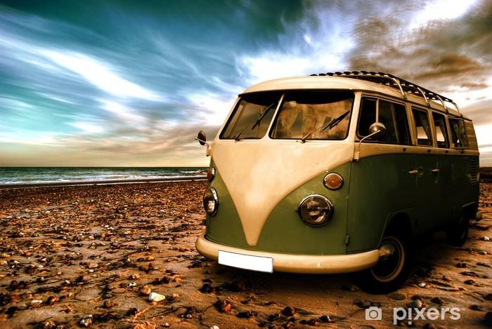 Strand mit altem Camper Vinyl Wall Mural -