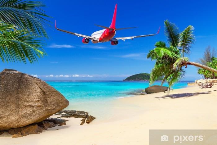 Pixerstick Sticker Tropische vakantie op het zonnige strand - Palmbomen
