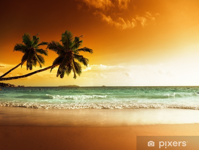 sunset on the beach of caribbean sea Pixerstick Sticker -