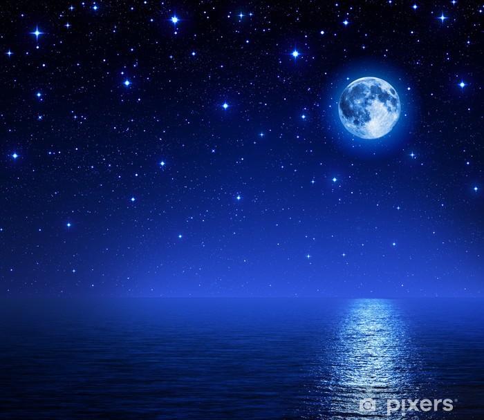 super moon in starry sky on sea Pixerstick Sticker - Themes