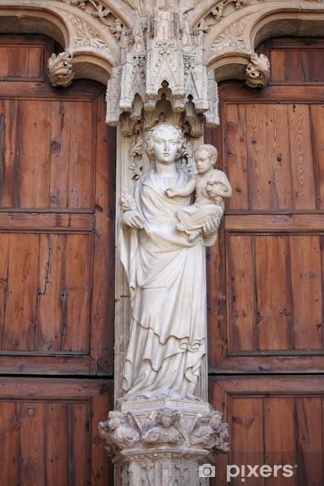 Pixerstick Klistremerke Statue Av Jomfru Maria Med Jesus Barn I
