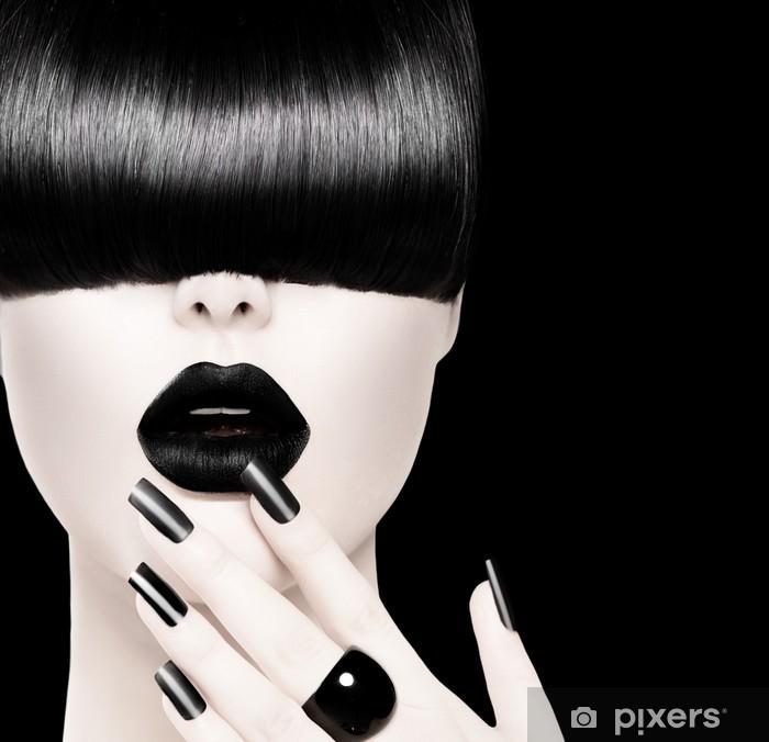 Sticker Pixerstick High Fashion noir et blanc Modèle de portrait de fille - Mode