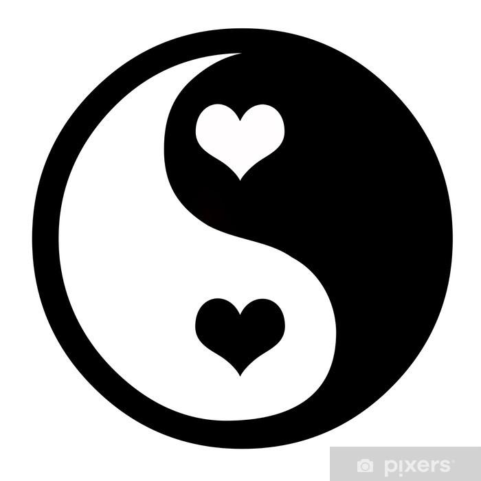 Fototapeta winylowa Yin-yang z serca - Znaki i symbole