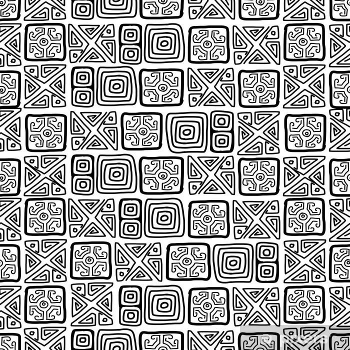 Naklejka Pixerstick Bez szwu etnicznych handmade ozdoba dla projektu - Sztuka i twórczość