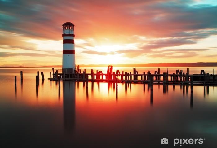 Papier peint vinyle Lever de soleil à la plage avec le phare - Phare