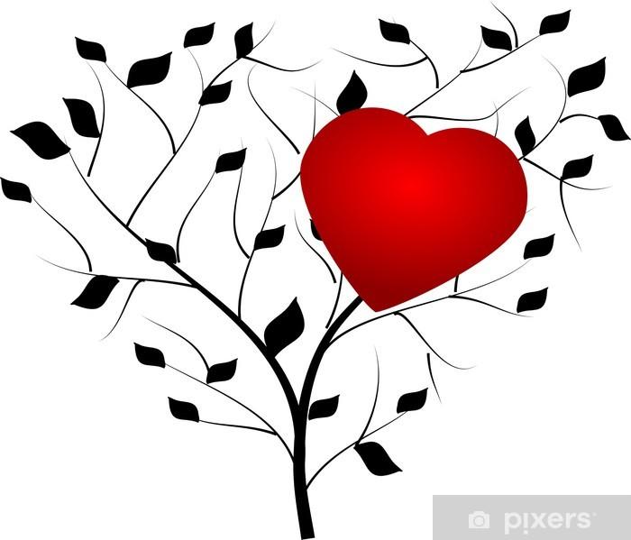 Vinyl-Fototapete Schwarz-Baum mit roten Herzen - Bäume