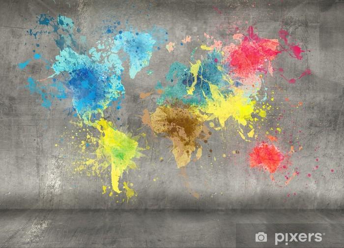 Fototapeta winylowa Mapa świata wykonane z odpryskami farby na tle ściany betonowej - iStaging