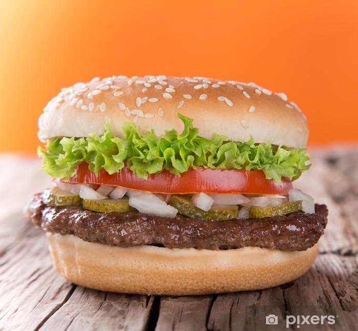 Fototapeta winylowa Pyszne hamburger na drewnie - Tematy