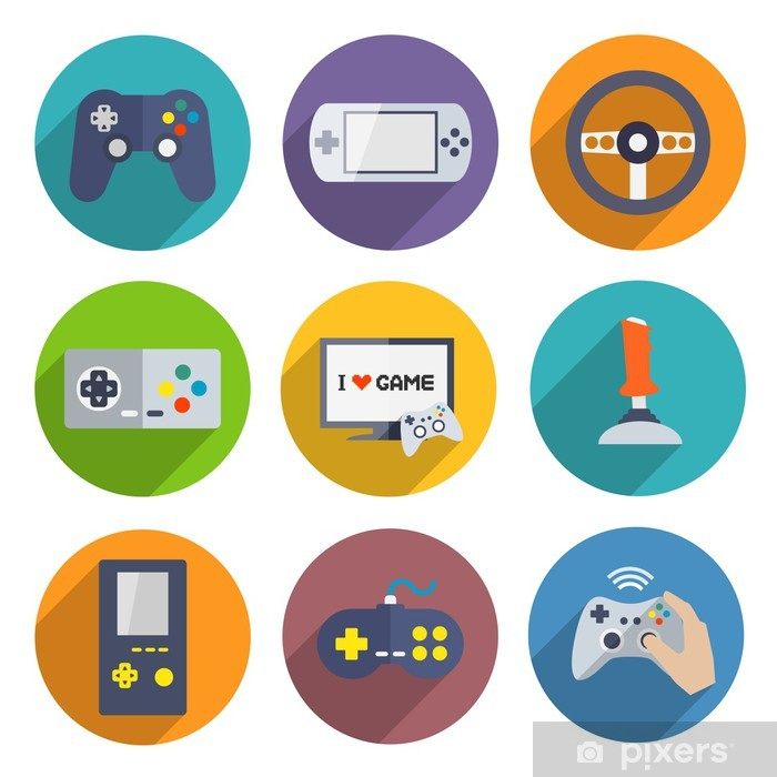 Video Games Controller Icons Set Vinyl Wall Mural - Signs and Symbols