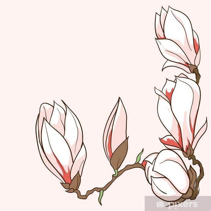 Sticker Pixerstick Vecteur tiré par la main des fleurs de magnolia cadre - Thèmes
