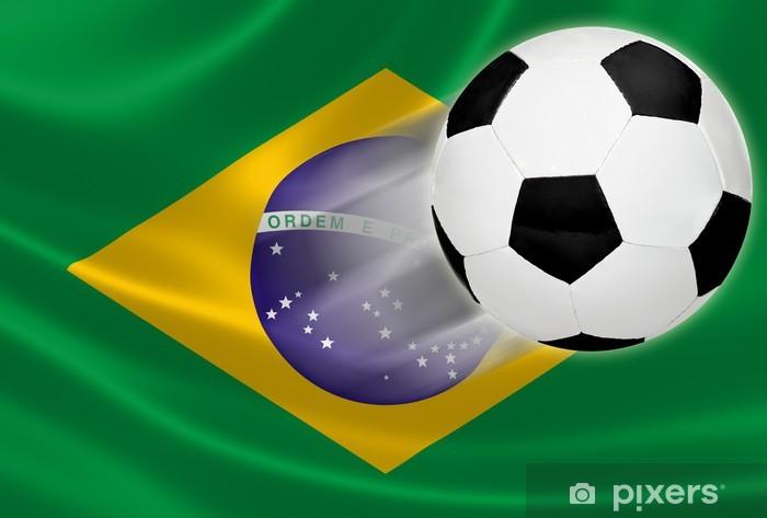 116c57e11debe Vinilo Copa del Mundo 2014  Balón de fútbol de volar de la bandera brasileña  Pixerstick