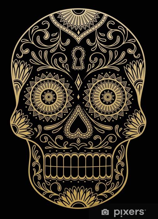 Sticker Pixerstick Ornement une couleur de crâne de sucre - Vie