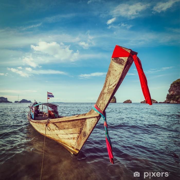 Sticker Pixerstick Bateau à longue queue sur la plage, Thaïlande - Bateaux