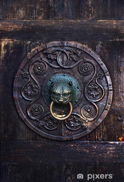 Sticker Pixerstick Bouton antique sur une porte en bois, Augsburg, Allemagne -