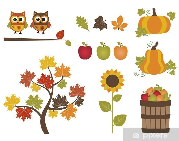 Papier peint vinyle Ensemble d'automne - Fleurs