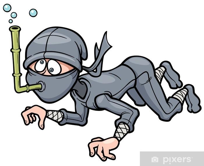 Sticker Pixerstick Vector illustration de Ninja de bande dessinée - Hommes