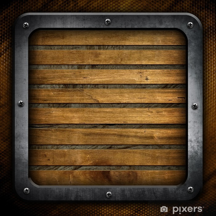 Wood Plank Background With Metal Frame Wall Mural Pixers We