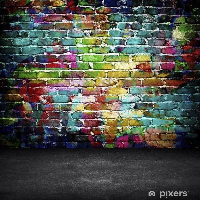 Sticker Pixerstick Graffiti mur de brique -