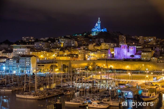 Naklejka Pixerstick Notre-Dame de la Garde na Stary Port w Marsylii - Europa