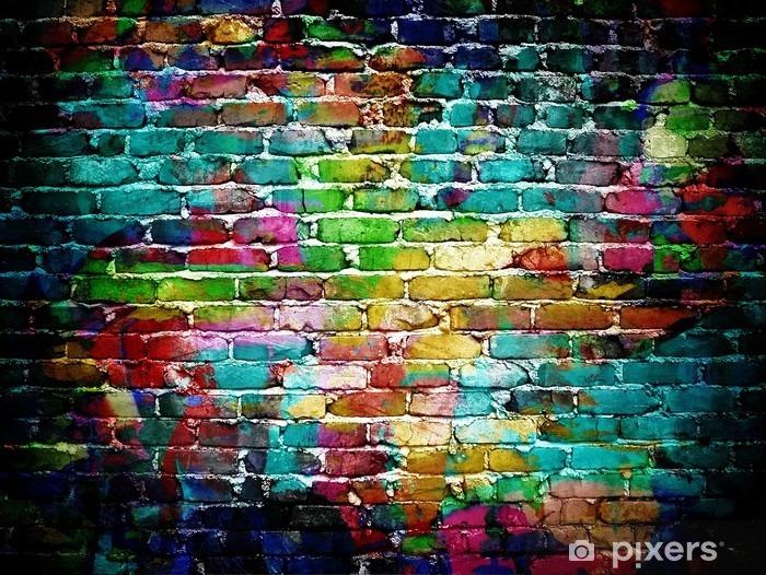 Carta da Parati in Vinile Muro di mattoni dei graffiti -
