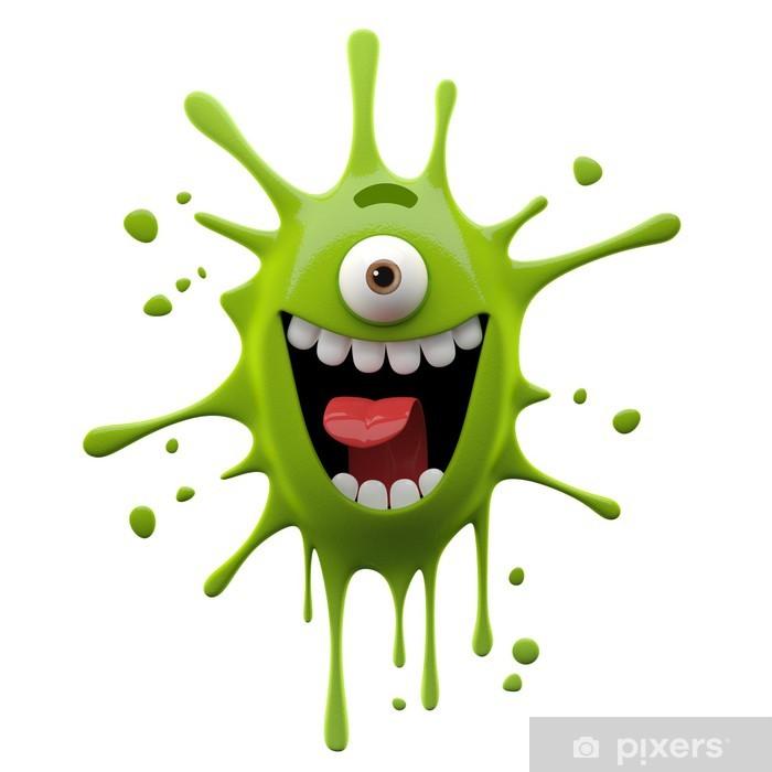 Vinilo para Nevera Monstruo divertido de personajes 3D, pequeño monstruo loco, - Felicidad